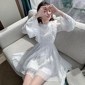 蛋糕裙洋裝 在逃公主蛋糕裙子2020秋裝新款喇叭袖時尚立領修身顯瘦仙女連衣裙