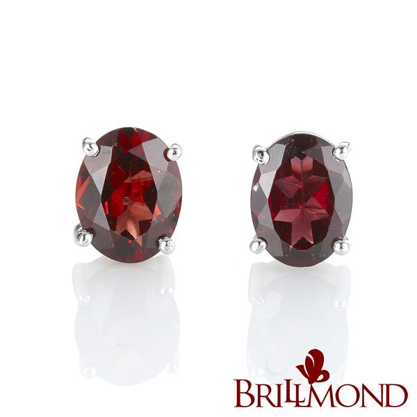 BRILLMOND 紅火石榴石耳環(925銀台)