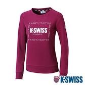 K-SWISS Square Logo Sweatshirt刷毛圓領上衣-女-櫻桃紅