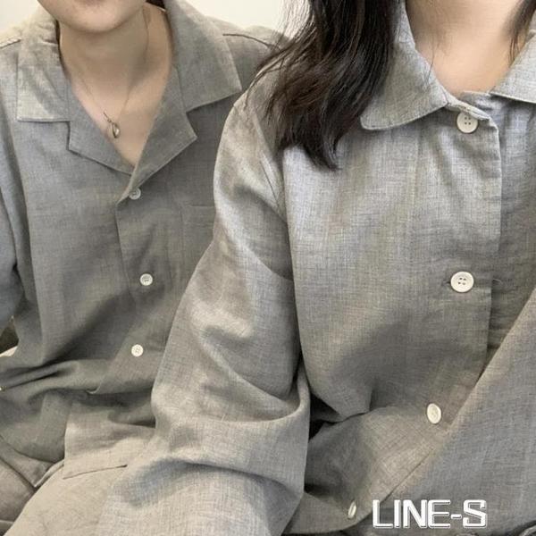 [soo room]全棉灰色日式雙層紗素色家居服男女/情侶睡衣長袖套裝