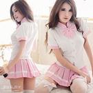 學生服 制服 蝴蝶結領巾 粉紅/藍色 角色扮演百摺裙學生裝-愛衣朵拉
