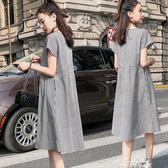 孕婦夏裝裙子春夏季新款懷孕期寬鬆中長款格子時尚連衣裙潮媽『夢娜麗莎精品館』