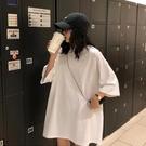 韓版寬鬆白色短袖T恤女夏季2021新款ins潮中長款純棉大碼半袖上衣 【端午節特惠】