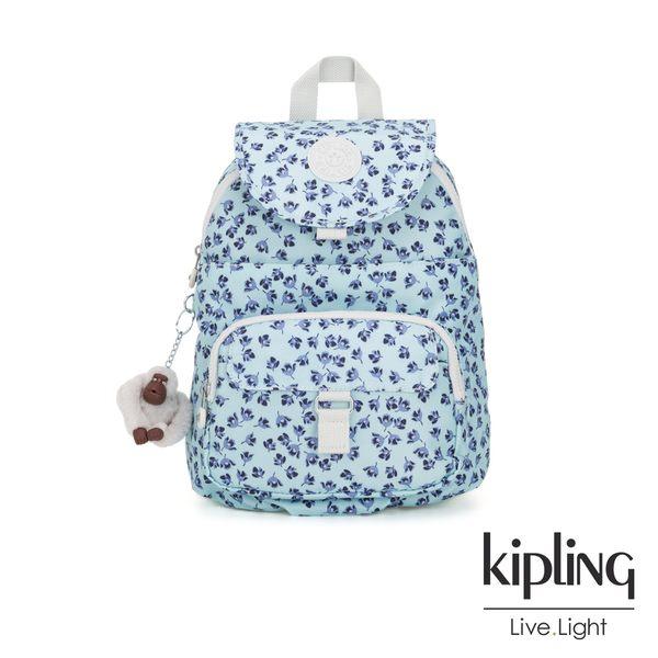 Kipling 典雅淡藍小花前扣多隔層後背包-QUEENIE