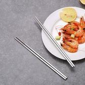 食品級304不銹鋼餐筷筷子家用防滑防燙套裝6雙裝餐具   LannaS