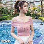 【藍色巴黎 】 韓版吊帶一字領露肩修身坑條針織上衣 無袖T恤《4色》【28523】