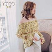東京著衣【YOCO】晨霧女孩波浪領印花撞色滾邊綁帶喇叭袖上衣-S.M.L(180140)