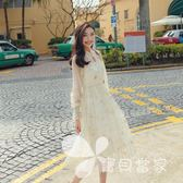 2018春季新款仙女網紗星月刺繡燙金燈籠袖吊帶兩件套收腰連身裙女