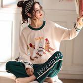 睡衣女春秋季長袖純棉套裝秋冬休閒韓版甜美可愛夏季可外穿家居服『新佰數位屋』