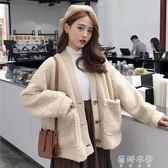 韓版BF風寬鬆加厚雙層仿羊羔毛休閒開衫上衣外套 蓓娜衣都