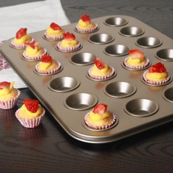 家用烘焙模具24連迷你麥芬不沾蛋糕模具迷你24連蛋撻雙層不黏涂層