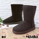 雪靴.韓風皮革平底短靴