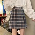 2020新款夏季高腰a字裙顯瘦半身裙女a型短裙bm包臀裙子百搭格子裙 滿天星