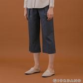 【GIORDANO】女裝後鬆緊休閒七分寬褲 - 98 淺灰