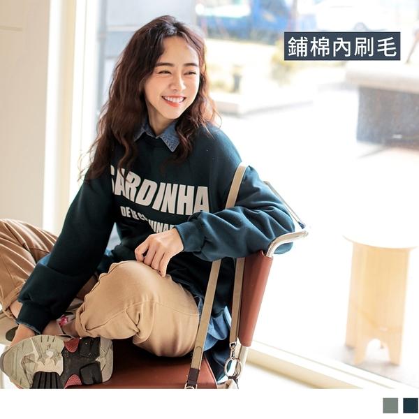 《AB14435-》台灣製造。保暖內刷毛英字印花長袖衛衣大學T上衣 OB嚴選