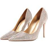 婚鞋 女水鑚尖頭高跟鞋細跟金色公主婚紗新娘銀色單鞋