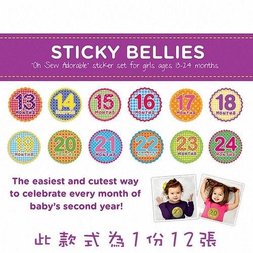 美國Sticky Bellies 寶寶月份貼紙13-24M(經典美式)[衛立兒生活館]
