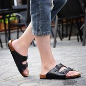 夏季軟木拖鞋男情侶人字拖沙灘涼拖鞋防滑潮流涼鞋休閑【街頭布衣 】