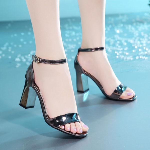 2017夏季新款粗跟女鞋高跟涼鞋女露趾歐美性感女涼鞋