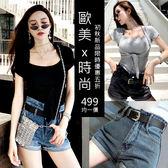 克妹Ke-Mei【AT53764】歐洲站 嫩模最愛皮釦腰帶反折個性感牛仔短褲