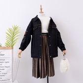牛仔外套 秋季2019新款單排扣寬鬆花朵刺繡印花女牛仔外套 都市韓衣