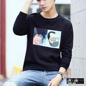 『潮段班』【HJ001242】韓版簡約藝術畫印花圓領長袖T恤