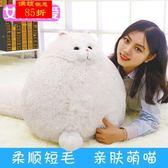 白色貓咪公仔大抱枕靠枕  新款可愛長尾貓咪毛絨玩具玩偶 送女友【全館85折最後兩天】
