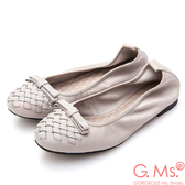 G.Ms.* 牛皮編織蝴蝶結娃娃鞋*淺灰