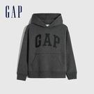 Gap男童 Logo碳素磨毛抓絨連帽休閒上衣 657907-深石楠灰