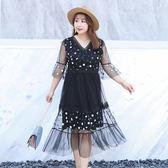 中大尺碼~刺繡小花網紗短袖洋裝連身裙(XL~4XL)