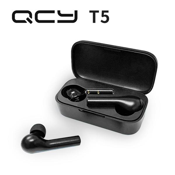 《現貨 特賣 》QCY T5 真無線藍牙耳機5.0 加蓋防摔 IPX5防水 雙耳高清通話 翻蓋充電盒