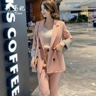 外套 春季新款韓版純色小西裝外套長褲套裝時尚寬鬆休閒百搭兩件套
