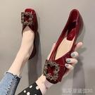 單鞋平底單鞋女新款夏季百搭紅色秋鞋軟皮豆豆鞋船鞋軟底鞋子夏 【快速出貨】