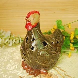 竹編雞 窯變陶瓷公雞 花園園藝裝飾品 家居 家飾 田園風格