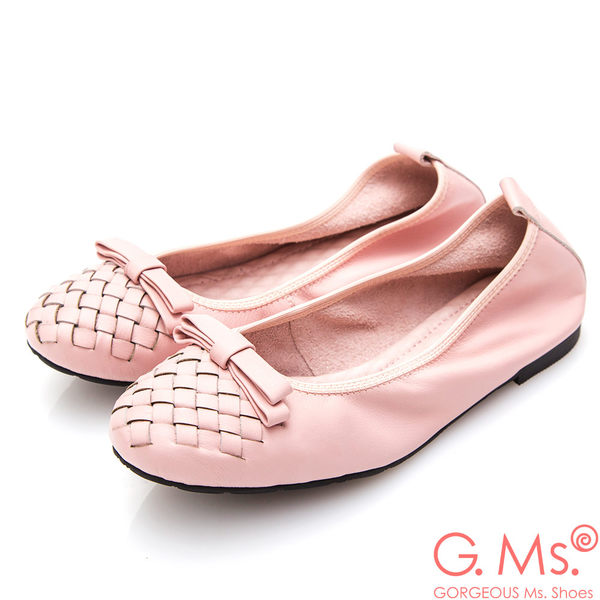 G.Ms.* 牛皮編織蝴蝶結娃娃鞋*粉紅