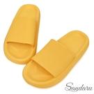 拖鞋 輕量彈力厚底防水拖鞋-黃...