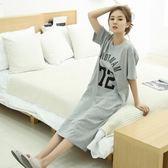 韓版睡裙女夏可愛清新學生甜美夏天純棉公主短袖寬松孕婦長款睡衣