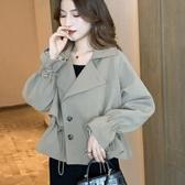 風衣女短款新款韓版寬鬆流行小個子抽繩喇叭袖時尚氣質外套秋   極有家