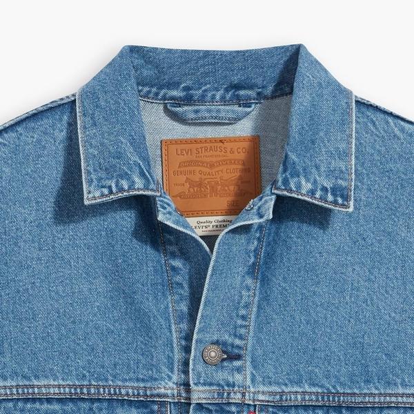 Levis 男款 古著牛仔外套 / Oversize寬鬆版型 / 復古大口袋設計 / 寒麻纖維 / 中藍基本款
