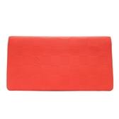 LOUIS VUITTON LV 路易威登 橘紅色牛皮棋盤格壓印二折長夾 Brazza N63001 BRAND OFF
