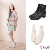 短靴-TTSNAP 素面皮革方頭中跟襪靴 黑/米