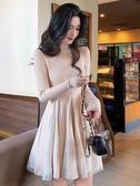 2019新款針織毛衣裙女冬季打底內搭網紗拼接高冷御姐風成熟連衣裙