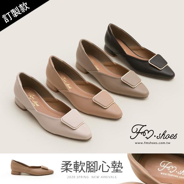包鞋.小方頭梯形扣飾低跟包鞋(杏、黑)-FM時尚美鞋-訂製款.Smile