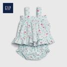 Gap 嬰兒 棉質舒適荷葉邊飾洋裝 544275-淡水藍色