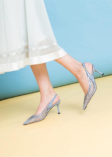 TAS 質感水鑽透膚尖頭高跟涼鞋-天空藍
