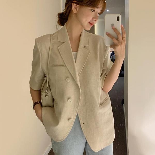 韓國CHIC夏季氣質簡約翻領寬松百搭三粒扣開衫短袖西裝短外套女