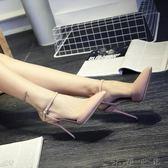 細跟高跟鞋一字扣女鞋涼鞋女帶夏單鞋
