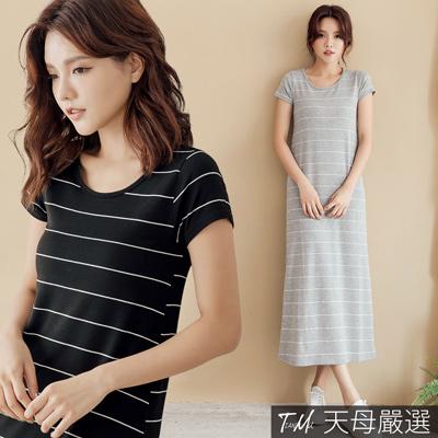 【天母嚴選】細條紋彈力棉質連身長洋裝(共二色)