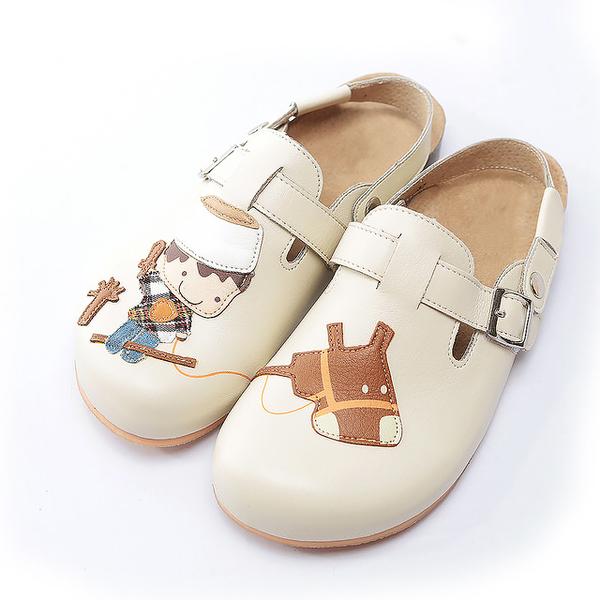 【Jingle】小王子騎馬記前包後空軟木休閒鞋(百搭米大人款)