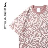 短袖T 「尋找人類 」川流不息 潮牌清涼舒適情侶寬松夏短袖T恤男女潮流